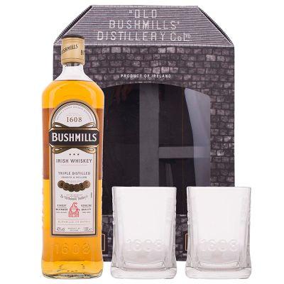 Whisky Bushmills Original 1,00 Litro 40º (R) + 2 Vasos 1.00 L.
